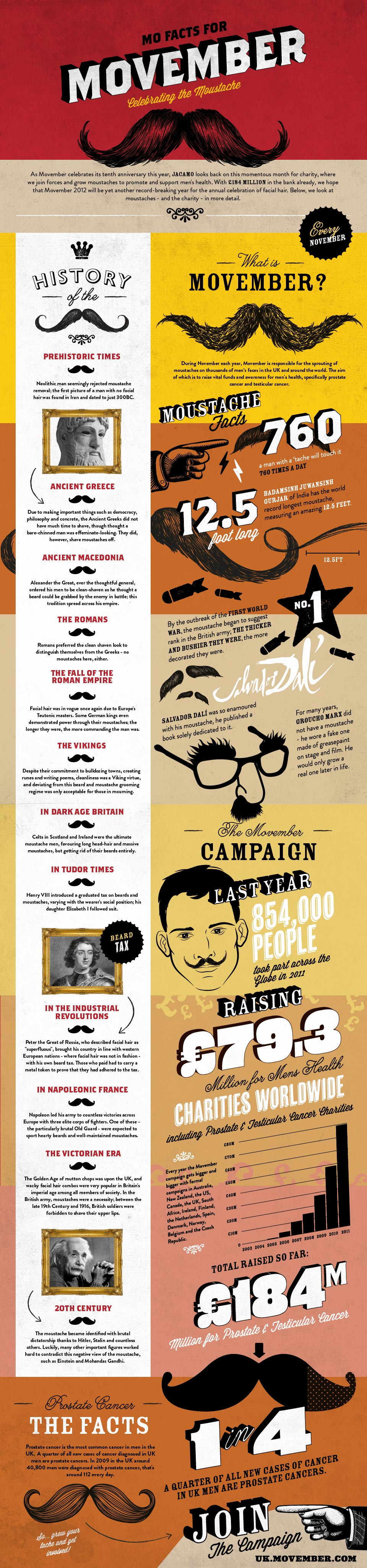 Mo Facts for Movember: Celebrating the Moustache - An Infographic from Infographics Showcase