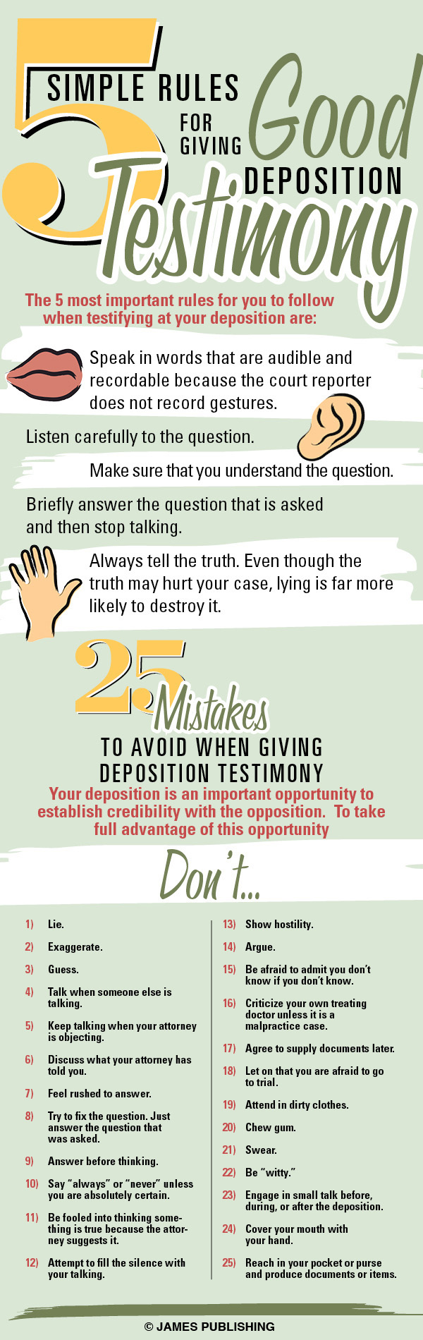 5 Rules For a Good Deposition Testimony - An Infographic from Infographics Showcase